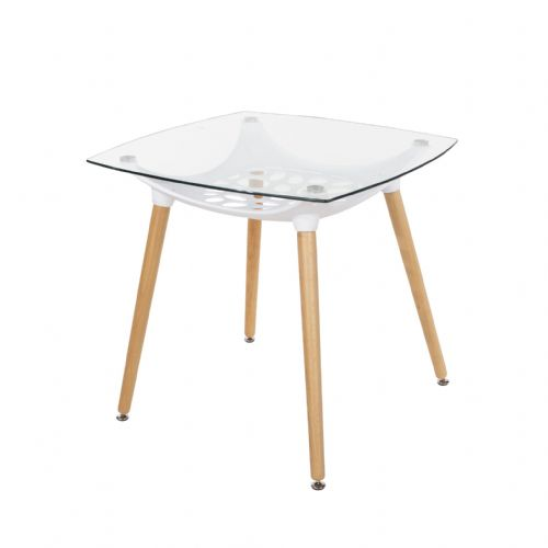 Aspen Square Glass Top Table With Wooden Legs